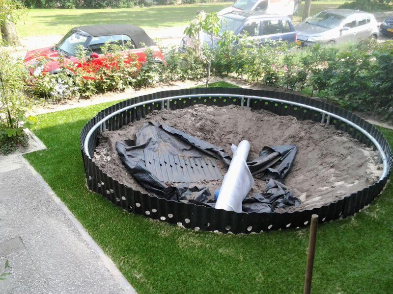 Trampoline in het kunstgras